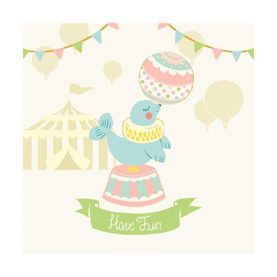Little Circus Seal Pastel-Cleonique Hilsaca-Art Print