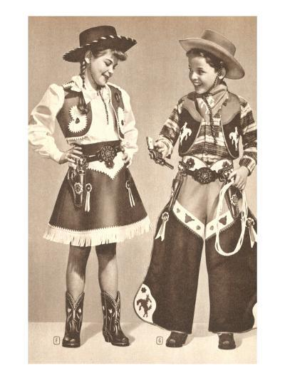 Little Cowboy and Cowgirl in Outfits--Art Print