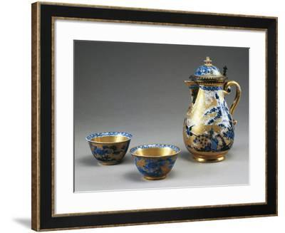Little Cups and Coffee Pot with Blue Blossoming Branches and Birds on Gold Background--Framed Giclee Print