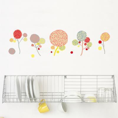 Little Garden Pompom Flowers Wall Decal--Wall Decal
