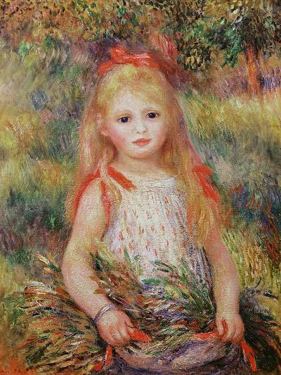 Little Girl Carrying Flowers, or the Little Gleaner, 1888-Pierre-Auguste Renoir-Giclee Print