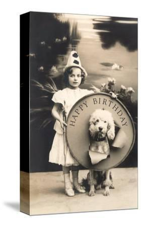 Little Girl Clown with Drum and Dog