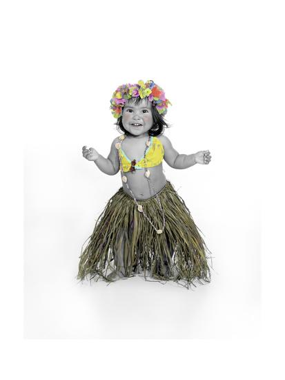 Little Girl Dressed as Hula Dancer-Nora Hernandez-Giclee Print