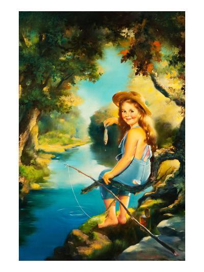 Little Girl Fishing-Maxine Stevens-Art Print