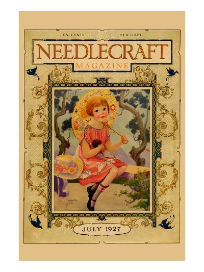Little Girl Holds a Doll and Sports and Umbrella-Needlecraft Magazine-Art Print