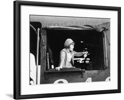 Little Girl in a Beret Driving a Train--Framed Photo