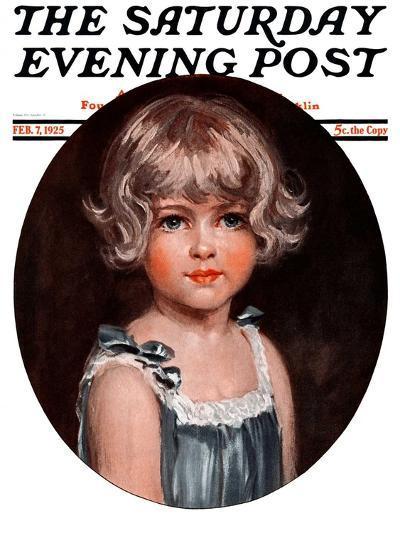 """""""Little Girl in Blue,"""" Saturday Evening Post Cover, February 7, 1925-Arthur Garratt-Giclee Print"""