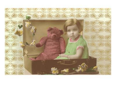 Little Girl in Suitcase with Teddy Bear--Art Print