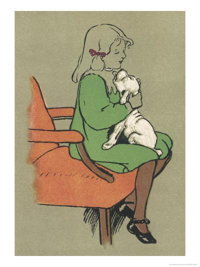 Little Girl is Licked Under the Chin by Her Affectionate White Puppy-Cecil Aldin-Giclee Print