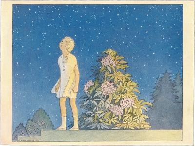 Little Girl Looking at Stars--Art Print