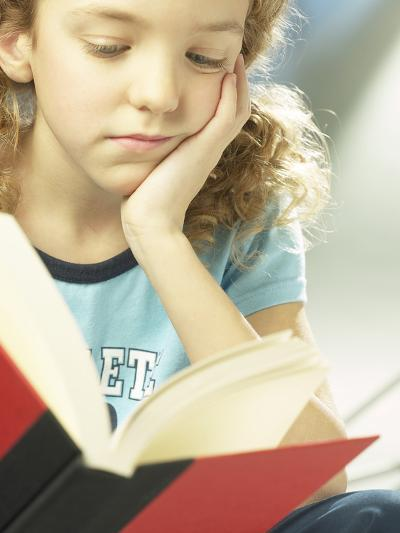 Little Girl Reading Book--Photographic Print