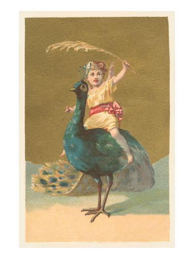 Little Girl Riding Peacock--Art Print