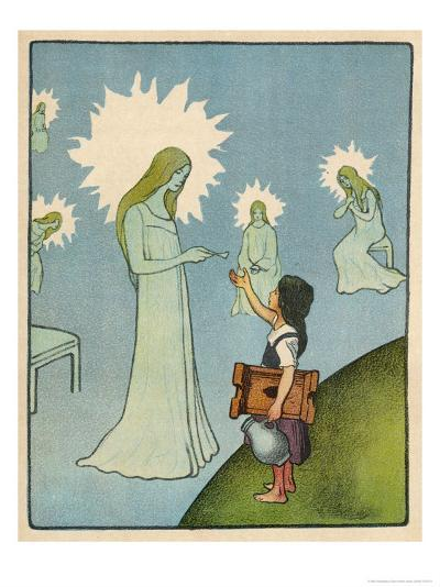 Little Girl Sets out to Find Her Seven Brothers and Receives Help from an Angelic Lady-Willy Planck-Giclee Print