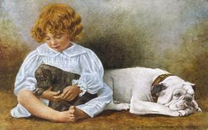 Little Girl Sits with a White Bulldog and Cuddles a Puppy