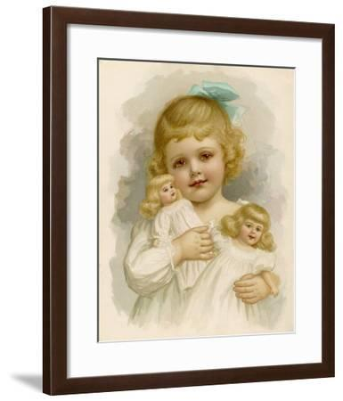 Little Girl with a Blue Ribbon in Her Hair Clutching Her Dolls-Ida Waugh-Framed Giclee Print