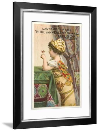 Little Girl with Butterfly--Framed Art Print