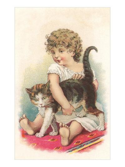 Little Girl with Cat--Art Print