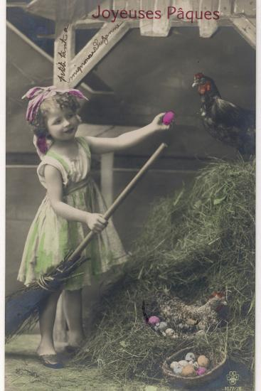 Little Girl with Coloured Eggs in a Poultry Yard--Photographic Print
