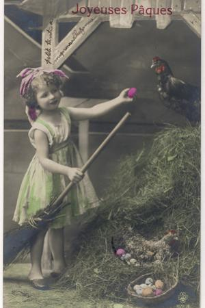 Little Girl with Coloured Eggs in a Poultry Yard