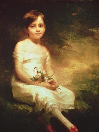 Little Girl with Flowers or Innocence, Portrait of Nancy Graham-Sir Henry Raeburn-Giclee Print