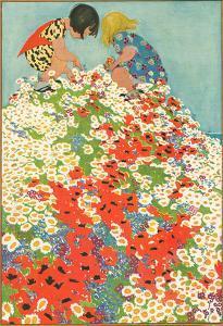 Little Girls in Field of Flowers