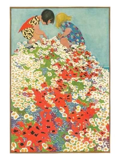Little Girls in Field of Flowers--Art Print