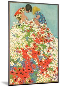 Little Girls in Field of Flowers-null-Mounted Art Print