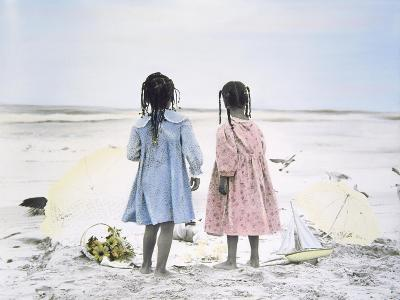 Little Girls on Beach with Flowers and Toy Sail Boat-Nora Hernandez-Giclee Print