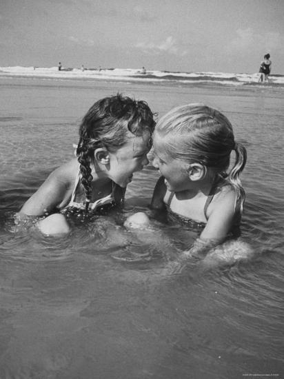 Little Girls Playing Together on a Beach-Lisa Larsen-Photographic Print