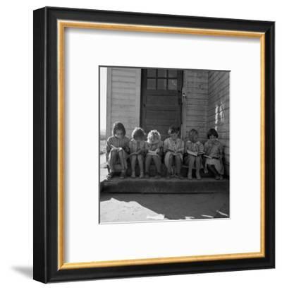 Little Girls Read their Lessons-Dorothea Lange-Framed Art Print