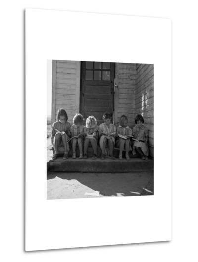 Little Girls Read their Lessons-Dorothea Lange-Metal Print