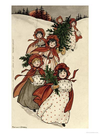 Little Girls with Holly and the Christmas Tree-Florence Hardy-Giclee Print