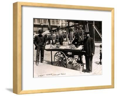 Little Italy - Street Vendor with Wares Displayed on a Handcart During a Festival, New York, 1908