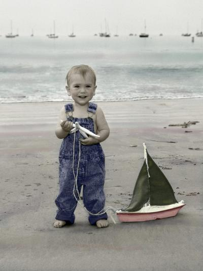 Little Kid on Beach with Toy Sailboat-Nora Hernandez-Giclee Print