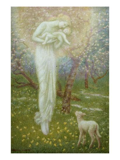 Little Lamb, who made thee?-Arthur Hughes-Giclee Print