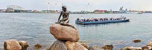 Little Mermaid Statue with Tourboat in a Canal, Copenhagen, Denmark