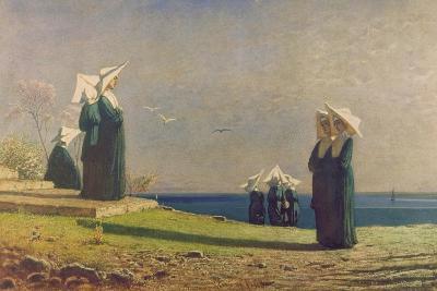 Little Nuns by the Sea (Monachine in Riva Al Mare)-Vincenzo Cabianca-Giclee Print