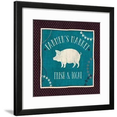 Little Red Farm II with Teal-Veronique Charron-Framed Art Print