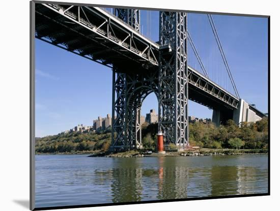 Little Red Lighthouse Under George Washington Bridge, New York, USA-Peter Scholey-Mounted Photographic Print