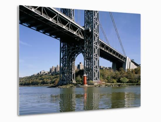Little Red Lighthouse Under George Washington Bridge, New York, USA-Peter Scholey-Metal Print