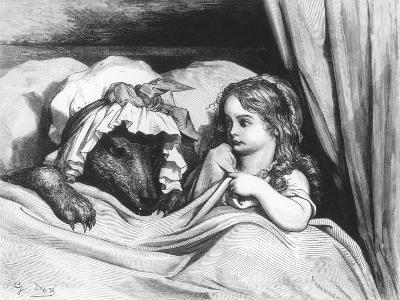 Little Red Riding Hood and the Wolf', Illustration from 'Les Contes De Perrault'-Gustave Dor?-Giclee Print