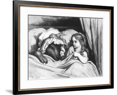 Little Red Riding Hood and the Wolf', Illustration from 'Les Contes De Perrault'-Gustave Doré-Framed Giclee Print