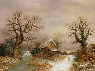 Little Red Riding Hood in the Snow, 19th Century-Charles Leaver-Giclee Print