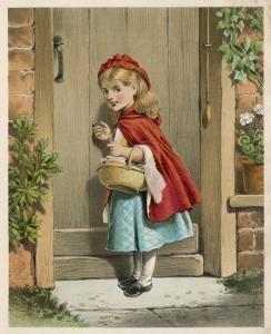 Little Red Riding Hood Knocks at Her Grandmother's Door