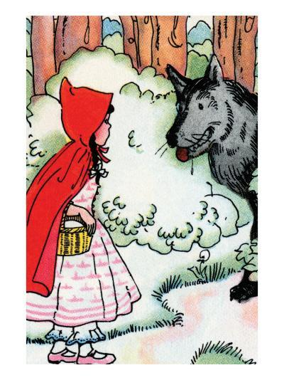 Little Red Riding Hood Meets the Wolf-Julia Letheld Hahn-Art Print