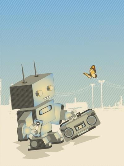 Little Retro Robot with a Boom-Box,Vector Illustration- gudron-Art Print