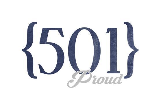 Little Rock, Arkansas - 501 Area Code (Blue)-Lantern Press-Art Print