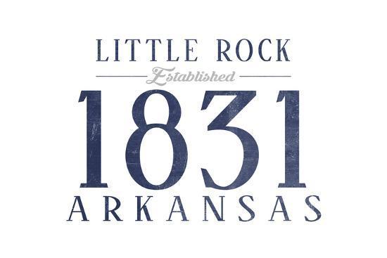 Little Rock, Arkansas - Established Date (Blue)-Lantern Press-Art Print