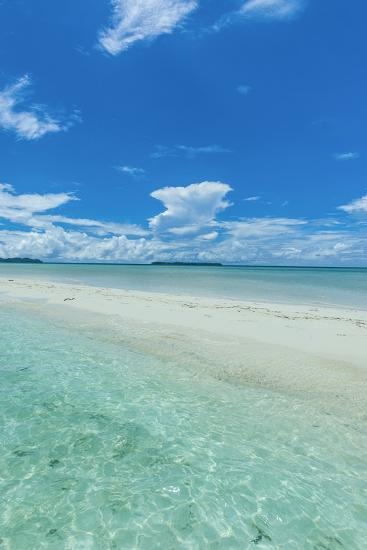 Little Sand Strip Appearing in Low Tide at the Rock Islands, Palau, Central Pacific-Michael Runkel-Photographic Print