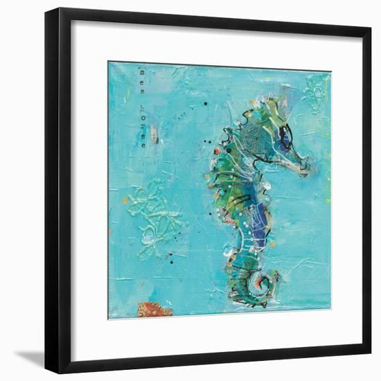 Little Seahorse Blue-Kellie Day-Framed Art Print
